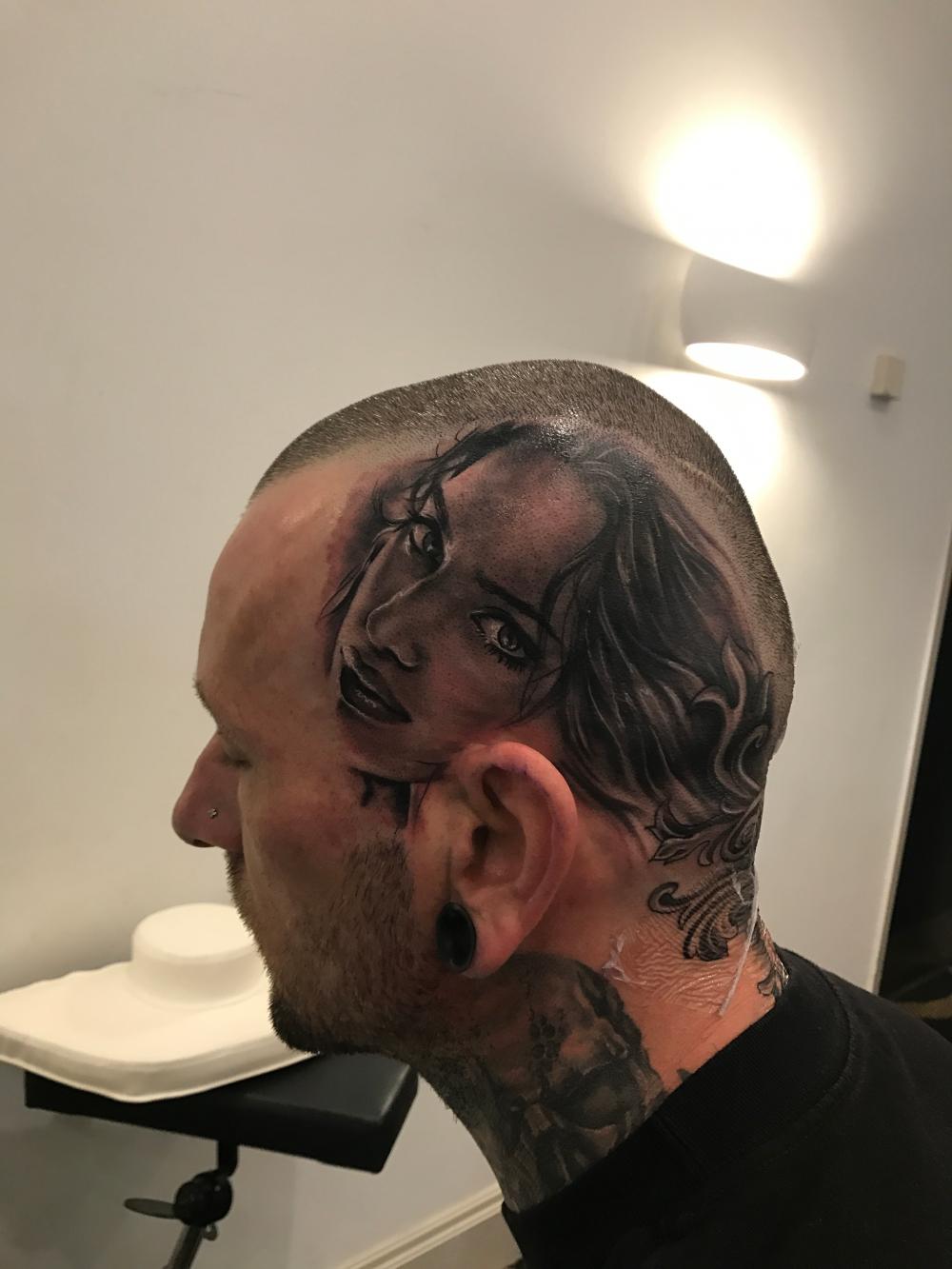 Part of head tattoo