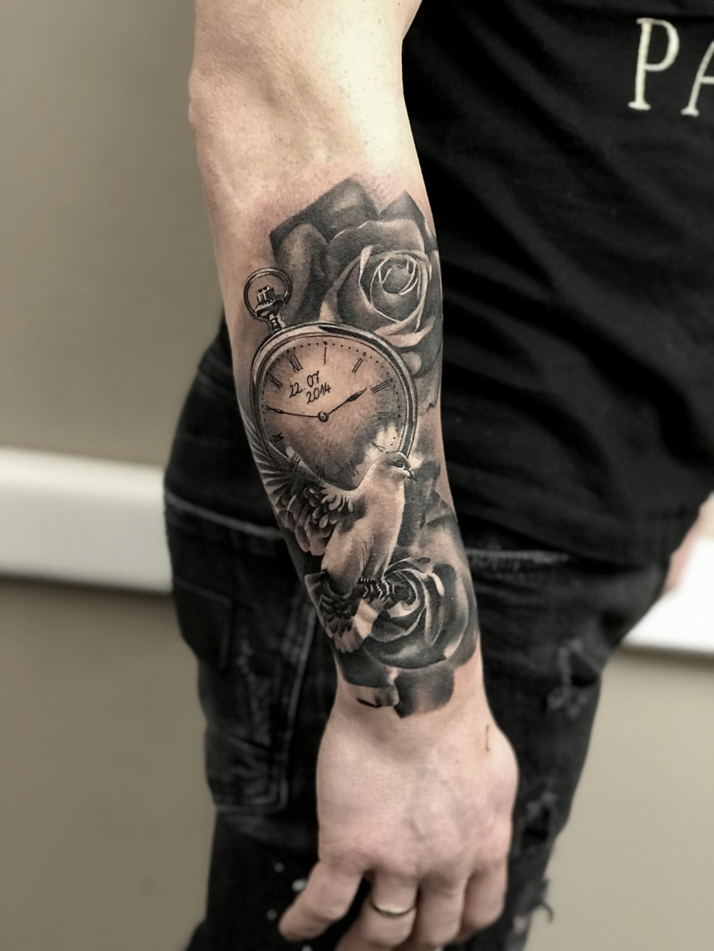 Dove and Pocketwatch forearm piece
